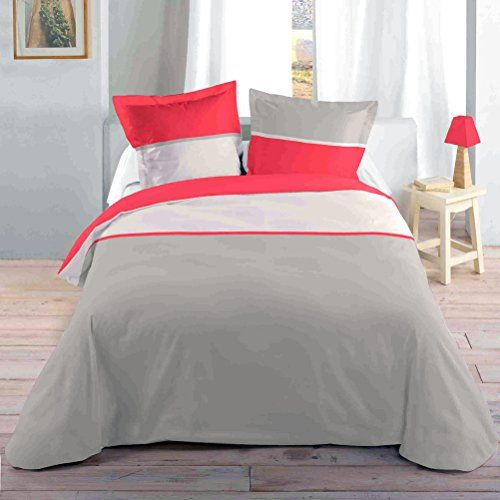 Grey And Corail Bedclothes 140 X 200 Cm Home Bedclothes Home Gadgets