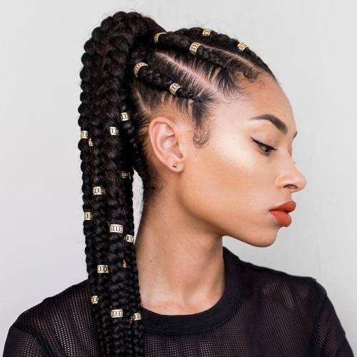 20 Super Hot Cornrow Braid Hairstyles For Black Women Braided Hairstyles African Braids Hairstyles Feed In Ponytail
