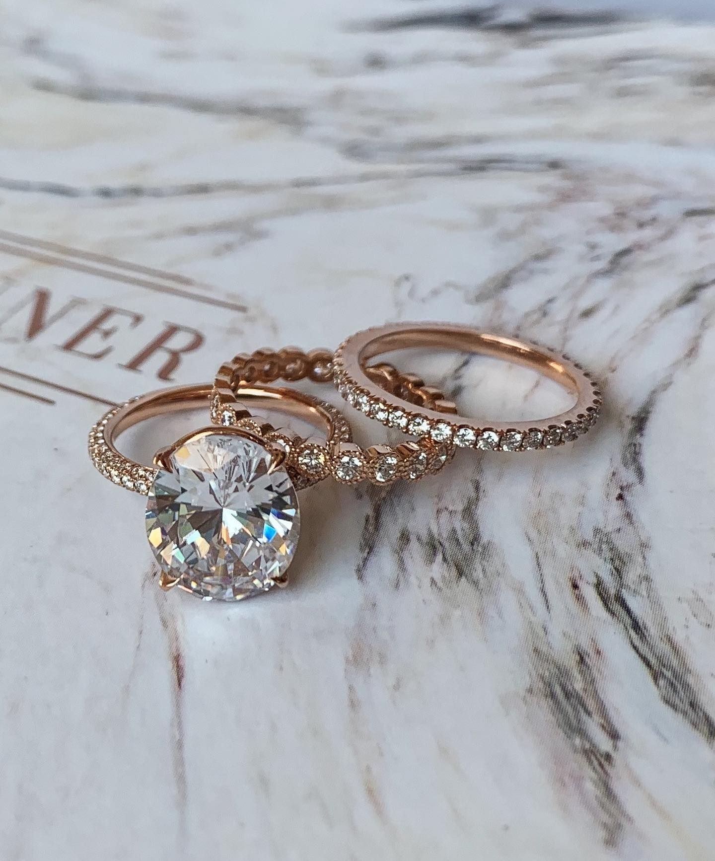 3 Row Micropave Basket Ring 2mm in 18K Rose Gold