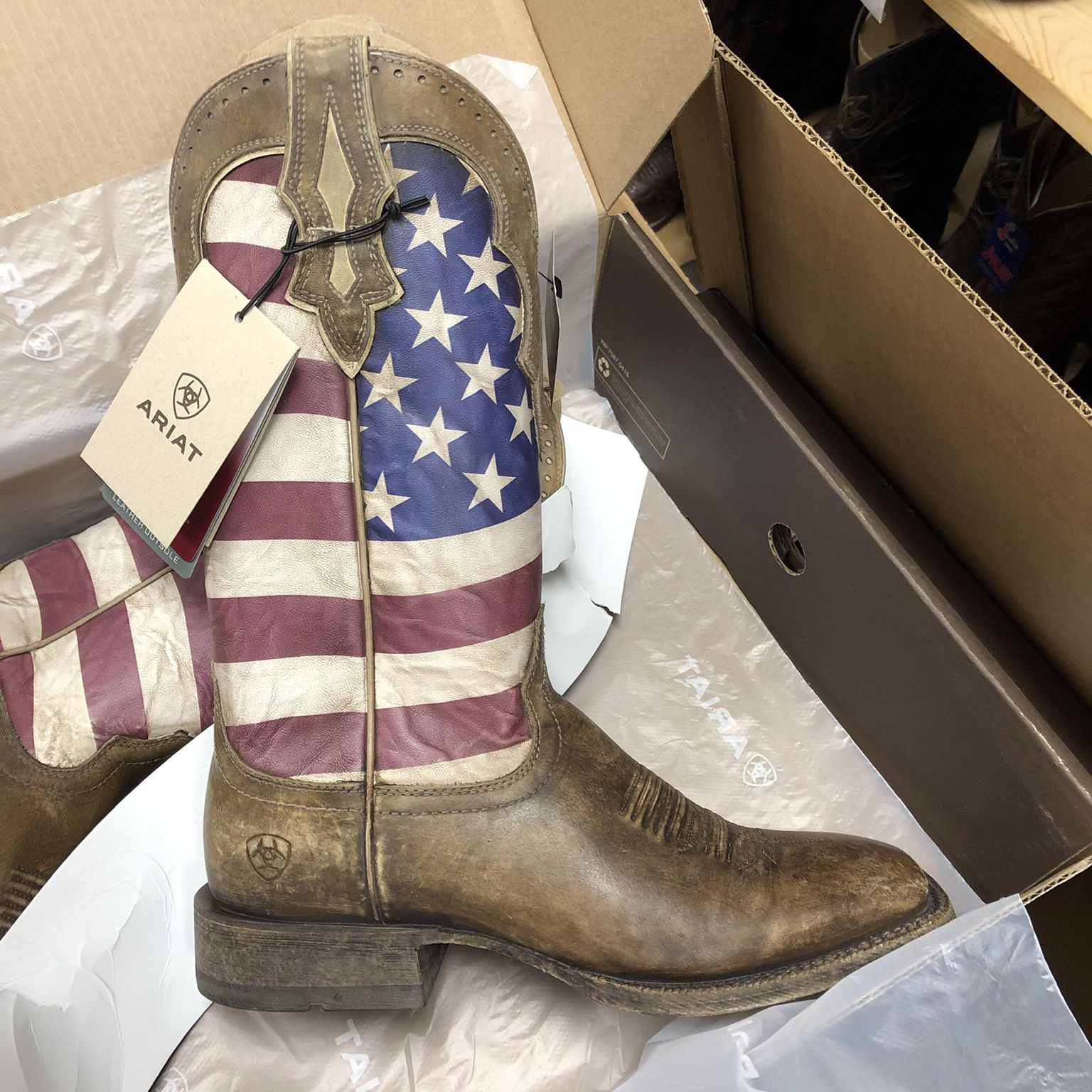 840d77e02c0 Ariat Men's Ranchero Stars and Stripes- Naturally Distressed Brown ...