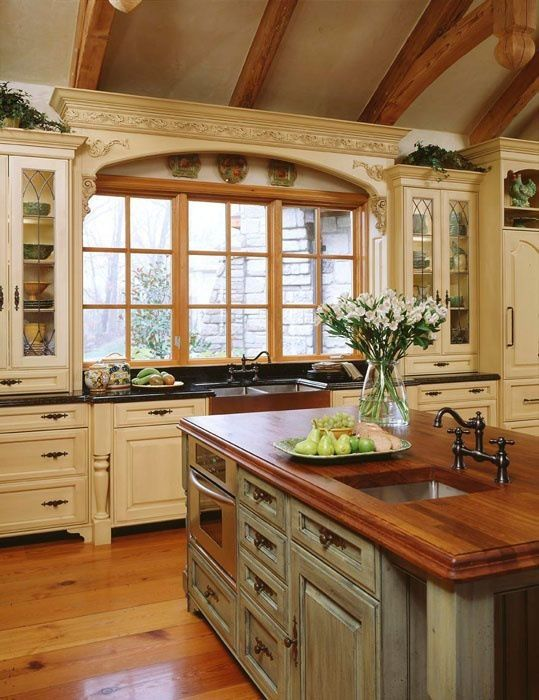French Country Kitchen ~ love the details around the windows + nice island butcher block countertop