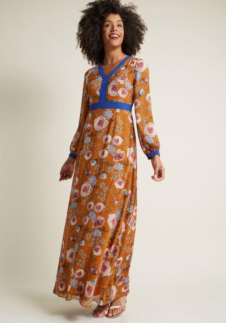 60s 70s Dresses Retro Inspired Maxi Dress Maxi Dress Bohemian Dress Long Sleeve Long Sleeve Boho Dress [ 1097 x 768 Pixel ]