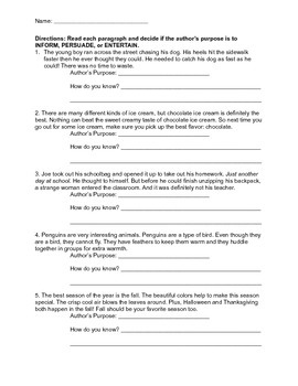Author S Purpose Worksheets With Images Authors Purpose