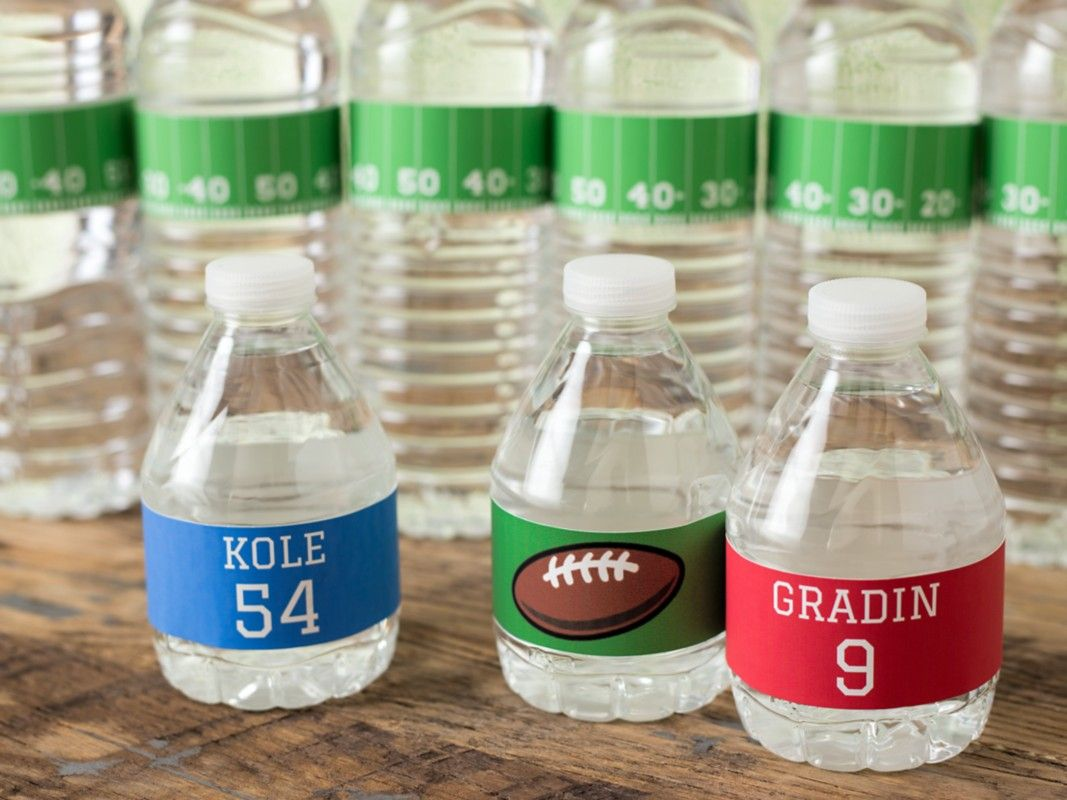 Are You Ready For Some Football These Cute Water Bottle Labels Are - Avery water bottle template