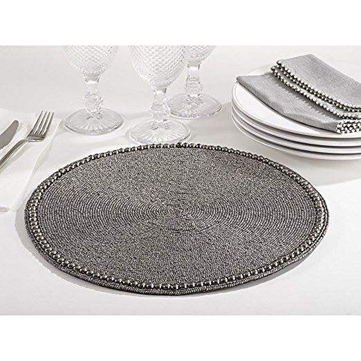 Amazon Com Pewter Color Glass Beaded Placemat 15 Quot Round 4 Piece Set Home Amp Kitchen Pewter Color Glass Beads Placemats