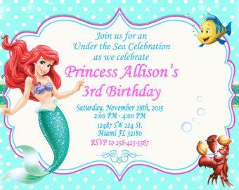 Sirenita Invitación Cumpleaños Tarjeta Invitar A Invitación
