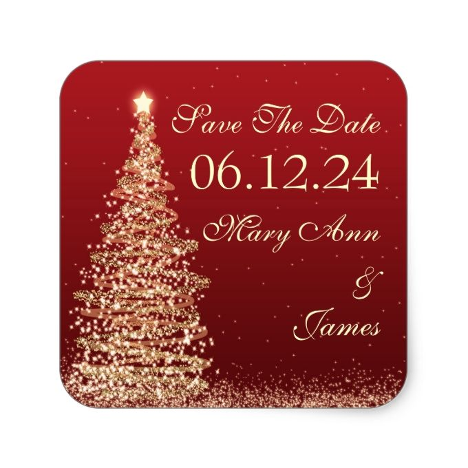 Christmas Wedding Save The Date Red Gold Square Sticker Christmas