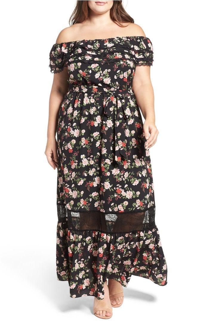 bb33035fd846 City Chic Free Love Floral Off the Shoulder Maxi Dress (Plus Size ...