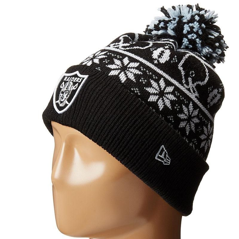 cd2564f2aa1 Mens   Womens Oakland Raiders New Era 2016 NFL Fashion Trend Sweater Chill  Cuffed Knit Pom Beanie Hat - Black