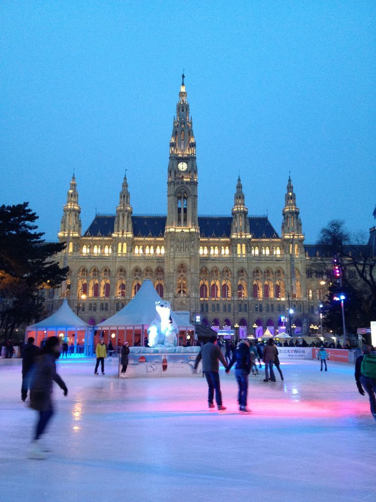 Ice skating in the historic center of