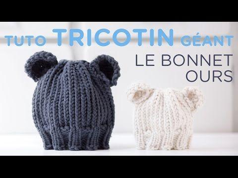 Tuto tricotin  le bonnet jersey bord côtes , YouTube