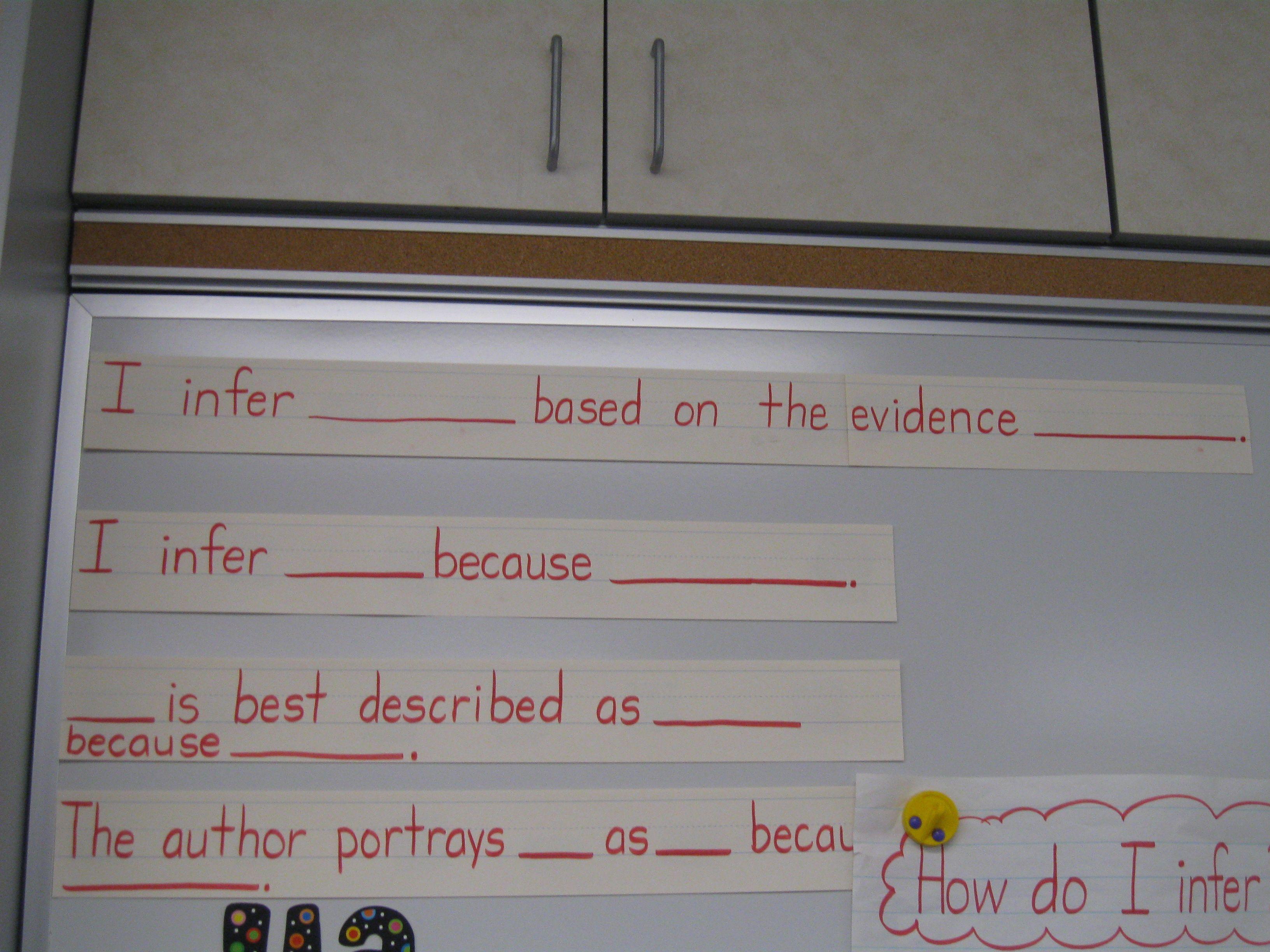 Infer Sentence Frames Literacy-comprehension