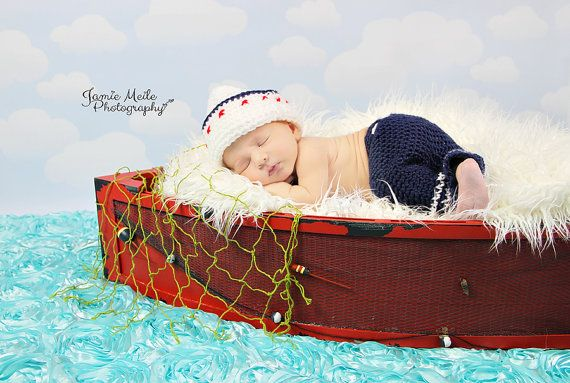 Newborn Sailor Hat by MadhatterknitsCo on Etsy