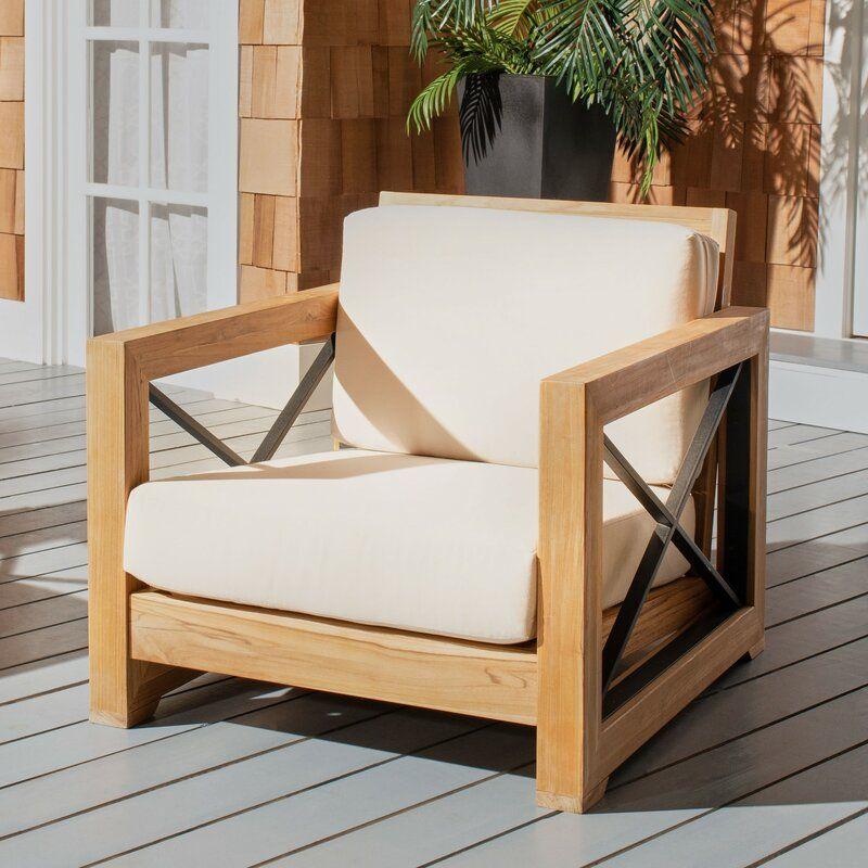 Teak Patio Chair With Cushions Joss Main In 2020 Lounge Chair Outdoor Patio Chairs Patio Chair Cushions