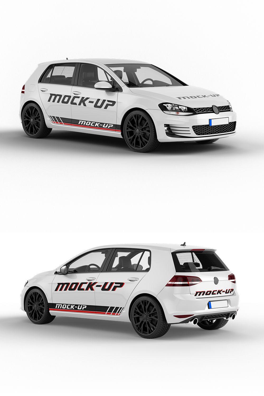 Realistic Vw Golf Car Mockup 6 Psd Files Vehicle Sport Vw