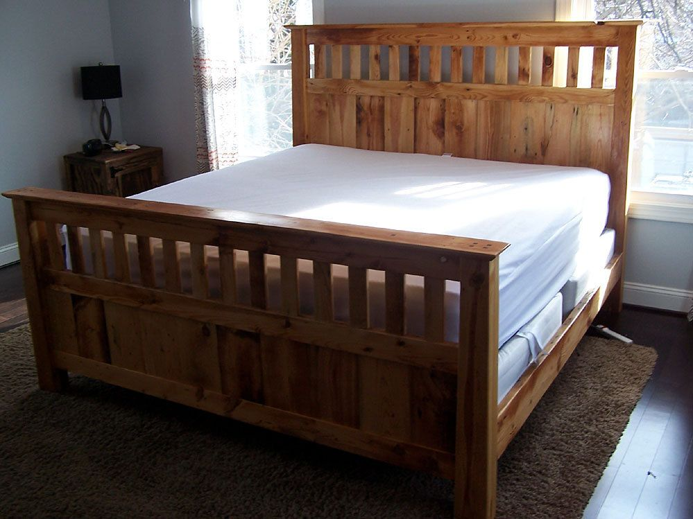 mission style queen size bed frame made from reclaimed heart pine - Wood Bed Frames Queen