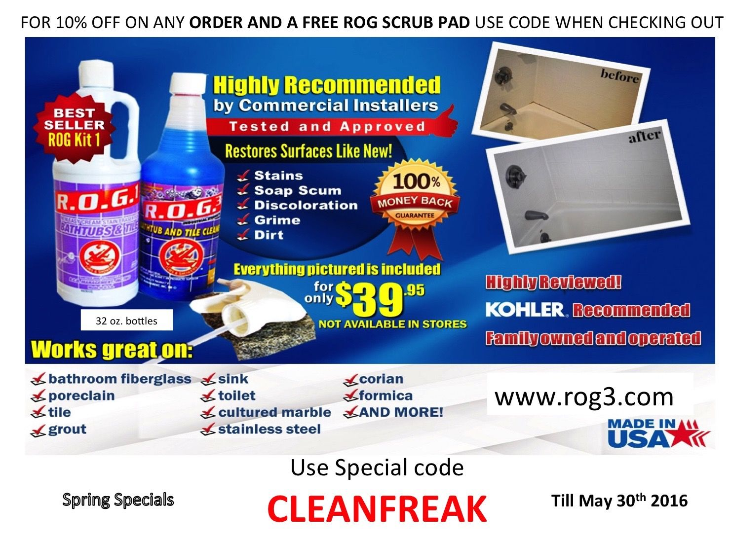 Cleaner that works great, found on our store only on line rog3.com ...