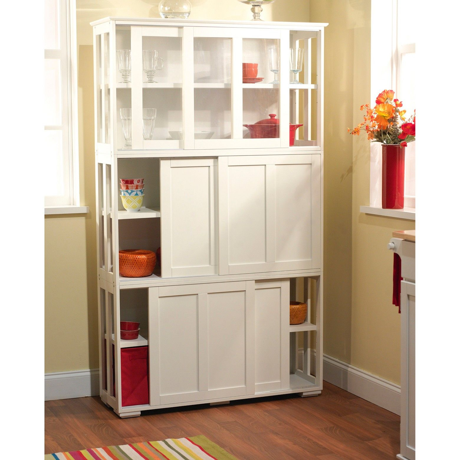 Pacific Stackable Sliding Wooden Doors Cabinet Off White Buylateral Kitchen Cabinet Remodel Glass Cabinet Doors Kitchen Cabinets