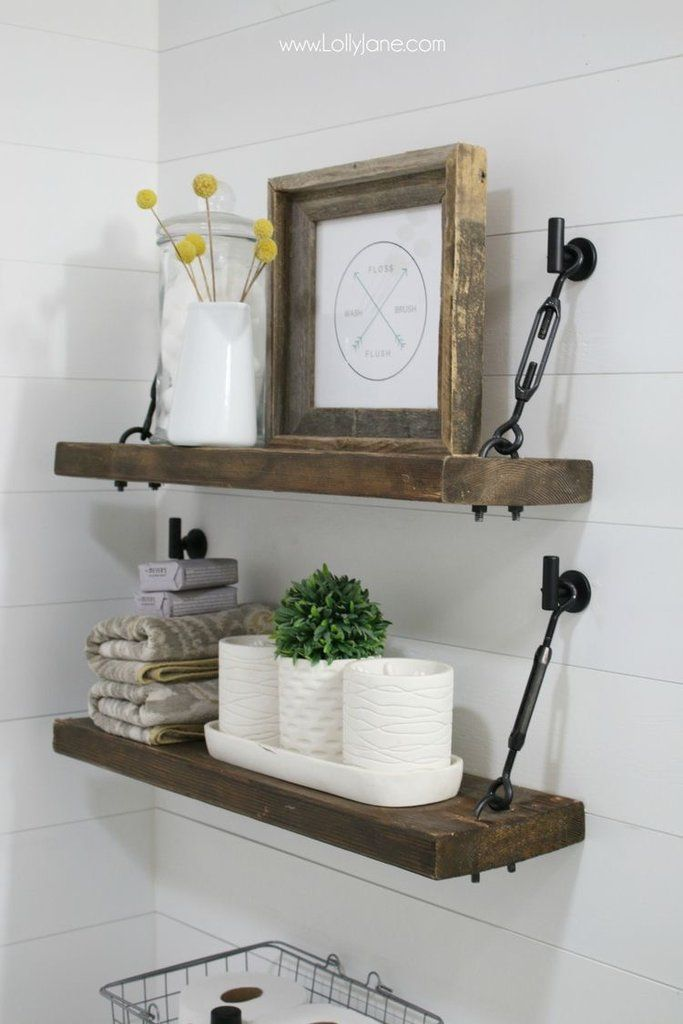 brown bathroom shelving ideas | 40+ Farmhouse Shelving and Wall Decor Ideas in 2019 ...