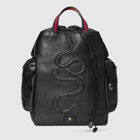 dcee5fe9b8d8 GUCCI Snake Embossed Drawstring Backpack. #gucci #bags #leather #backpacks #