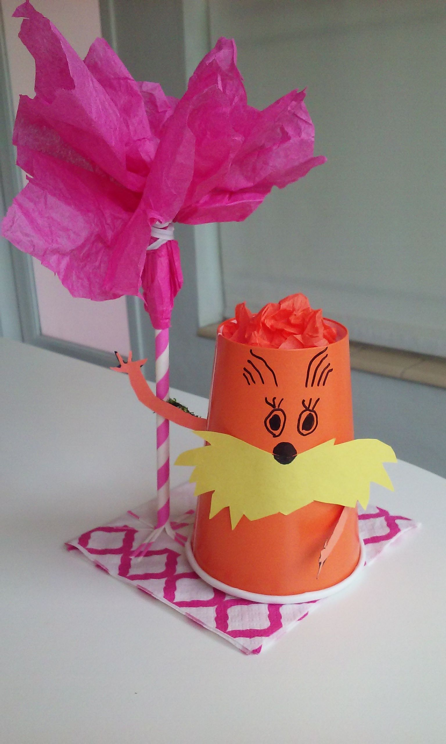 Lorax and Truffula tree paper craft for kids and for baby shower made from paper cup and straw.
