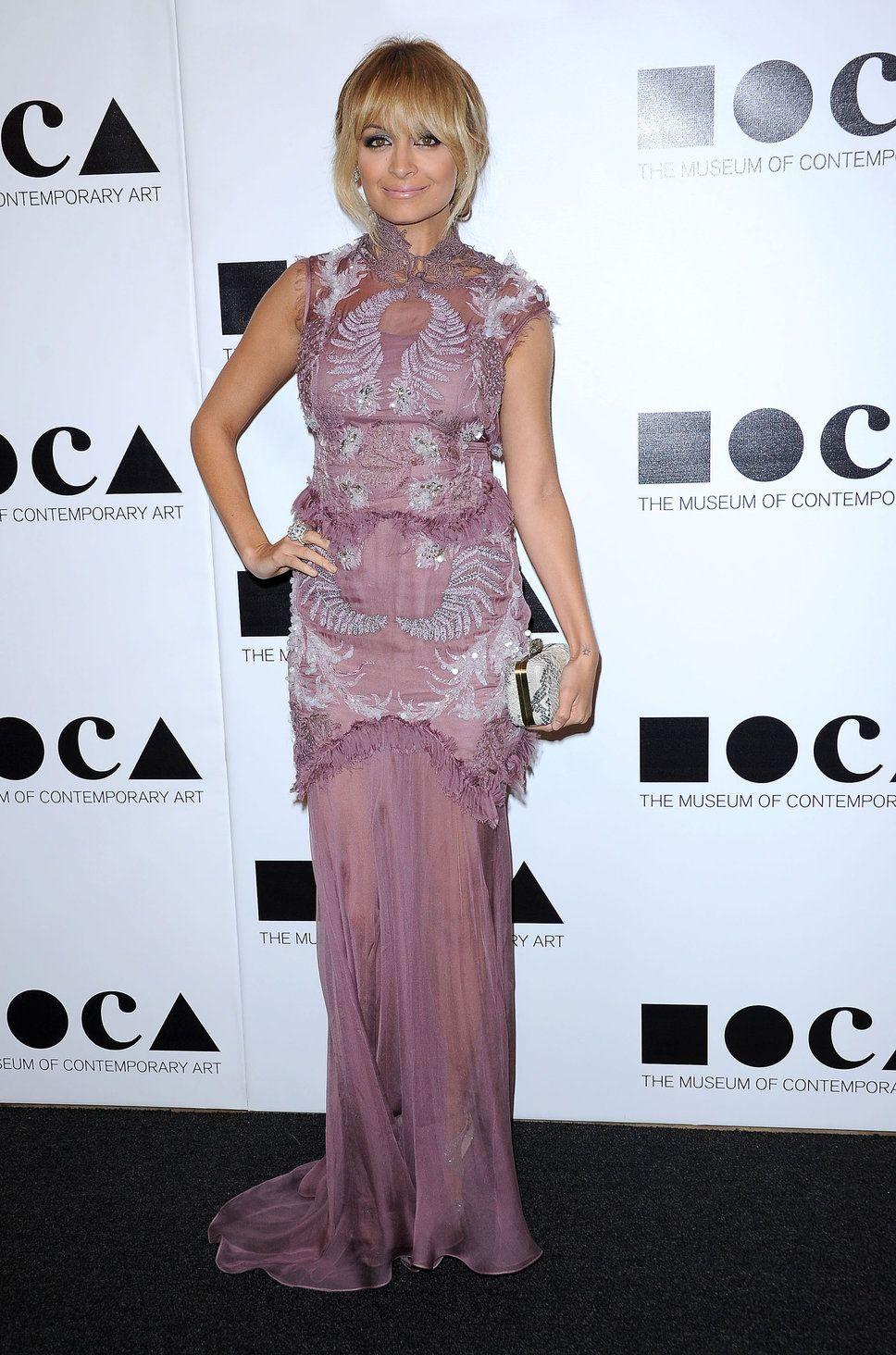 Nicole Richie vintage purple dress bangs