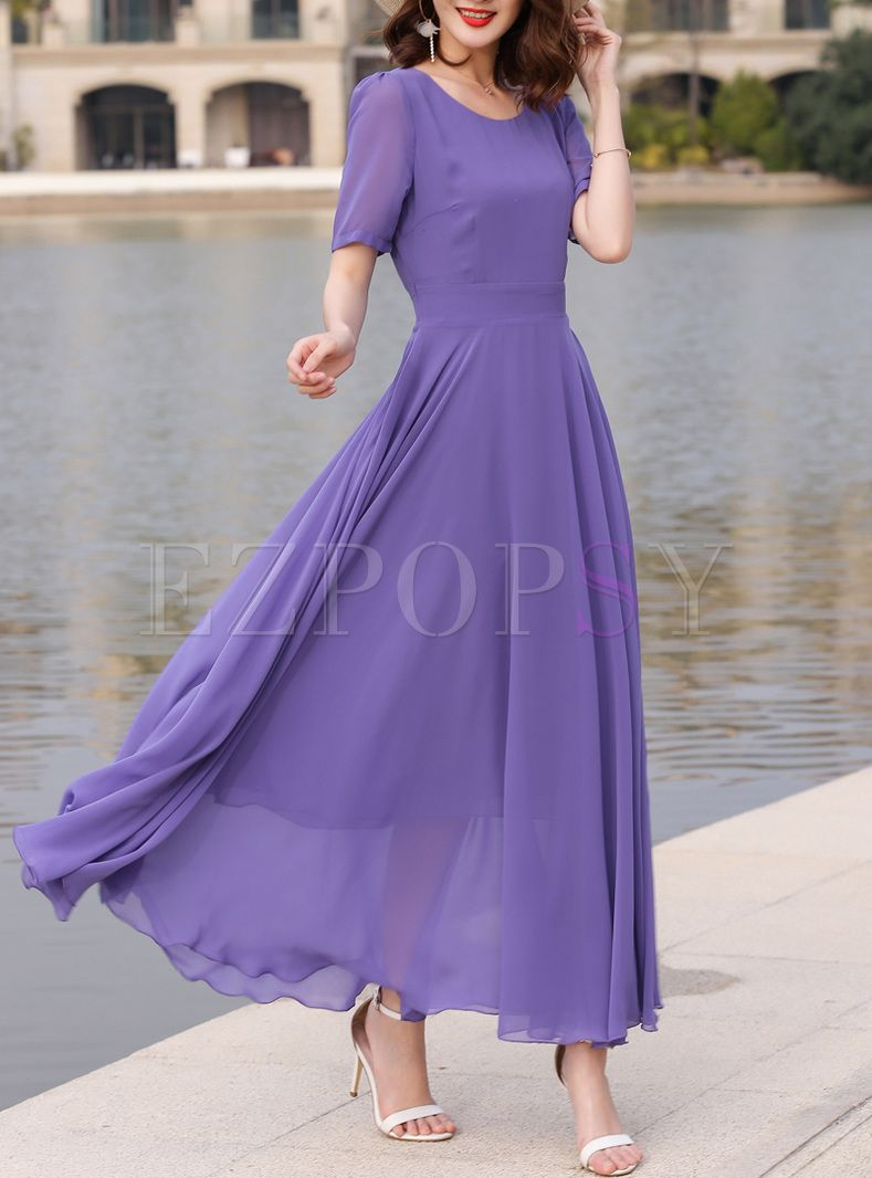 Purple oneck big hem slim maxi dress in my style clothes