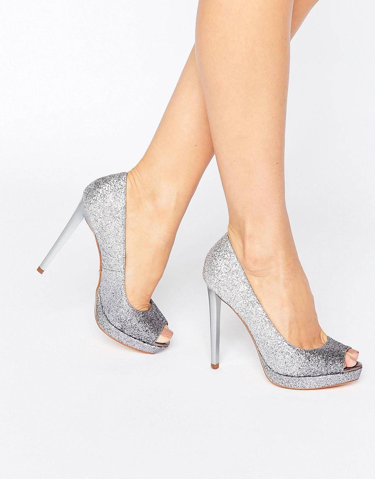 52ac24559a1bda Faith – Cassie – Silber glitzernde Schuhe mit hohen Absätzen