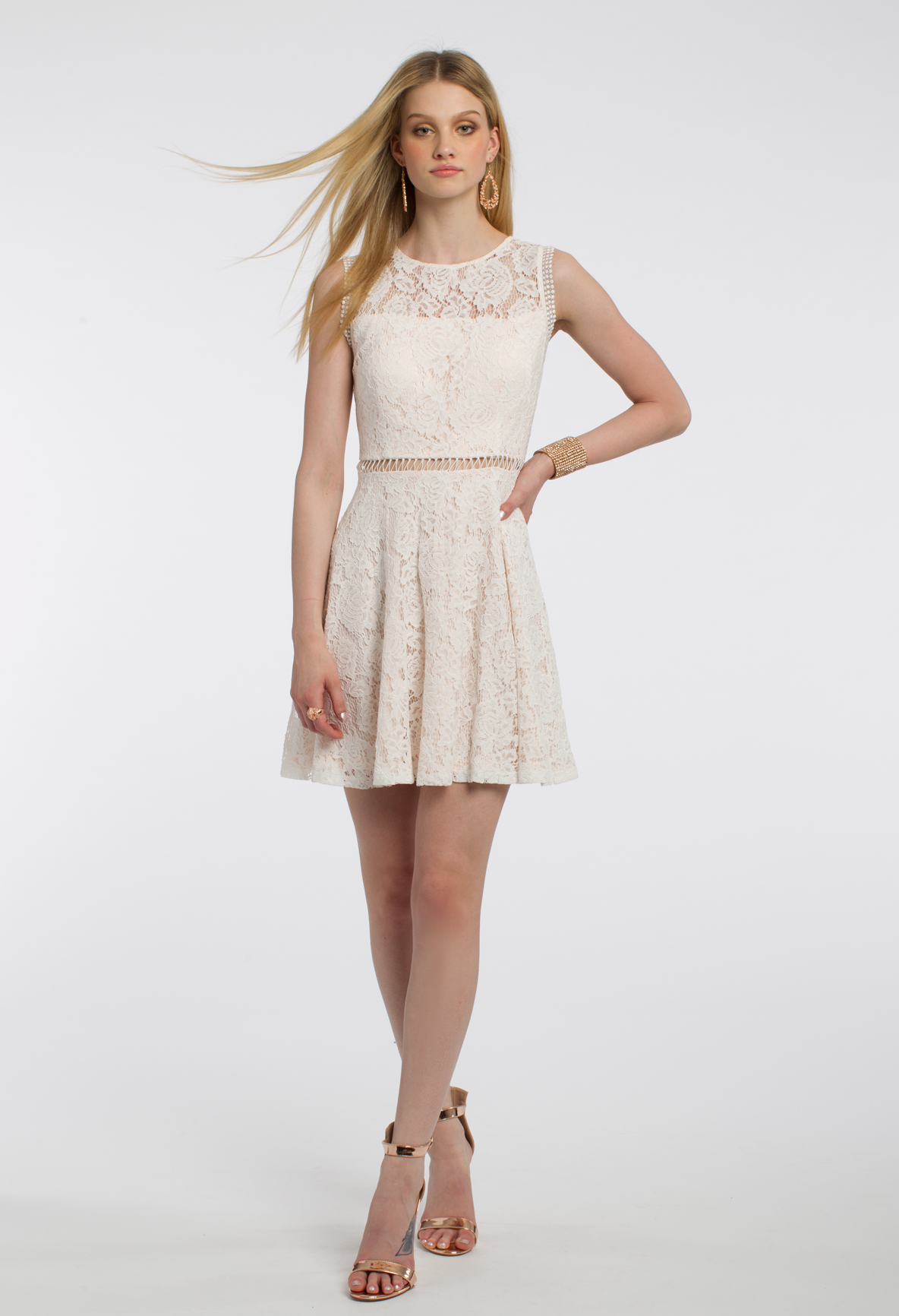 Twotone lace with trim dress lace dressing and illusions