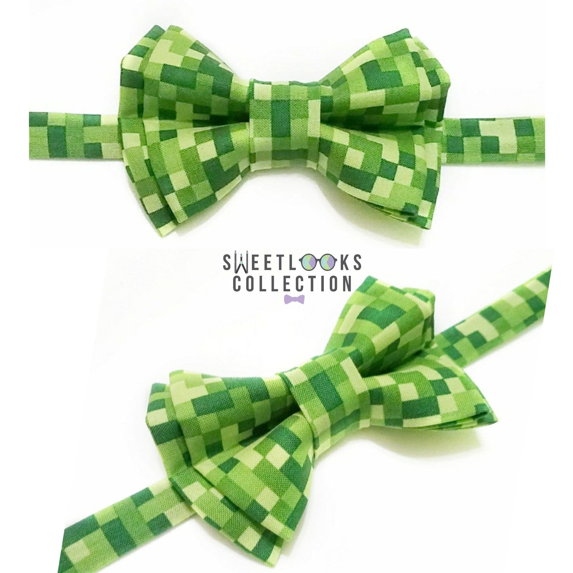 Green Pixel Bow Ties And Hair Bows