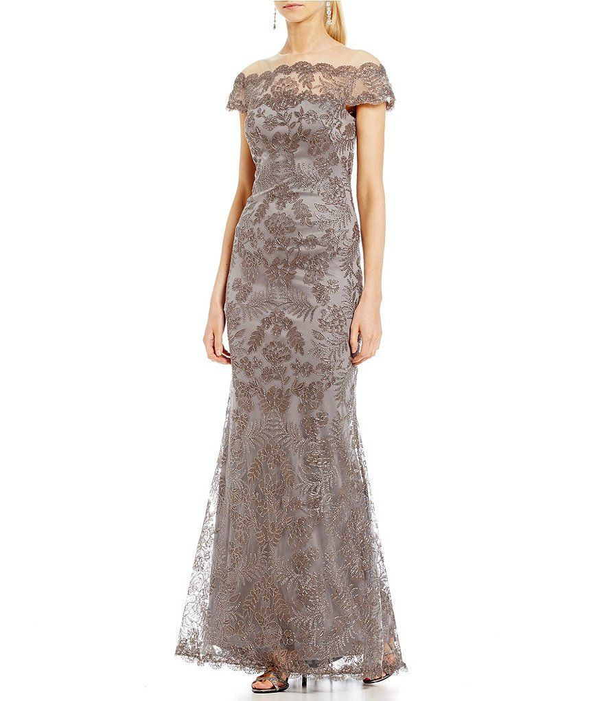 Tadashi Shoji Off-The-Shoulder Lace Gown   Jenny MOB   Pinterest ...