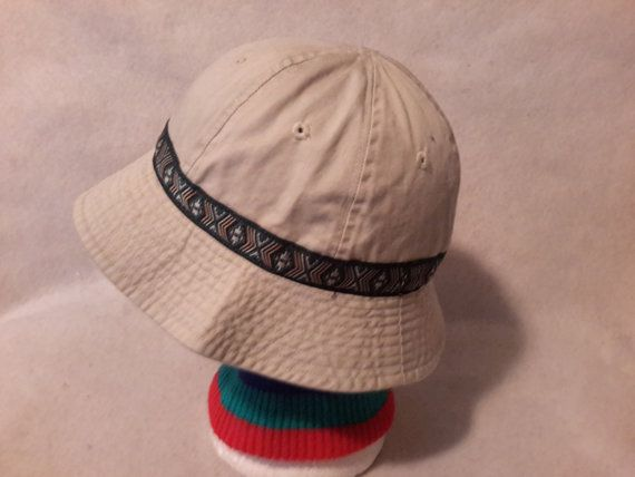 b74dac51 Vintage 90s Khaki Aztec Bucket Hat Cap sz by RetroVintageDope