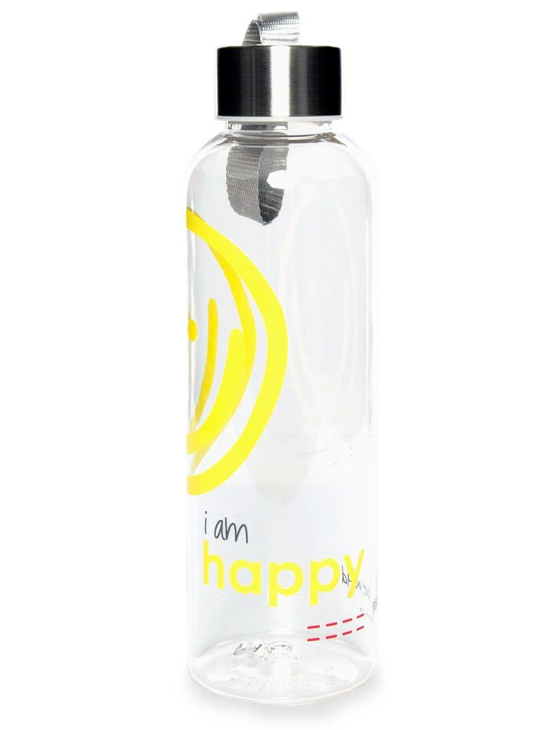I Am Happy Clear Water Bottle