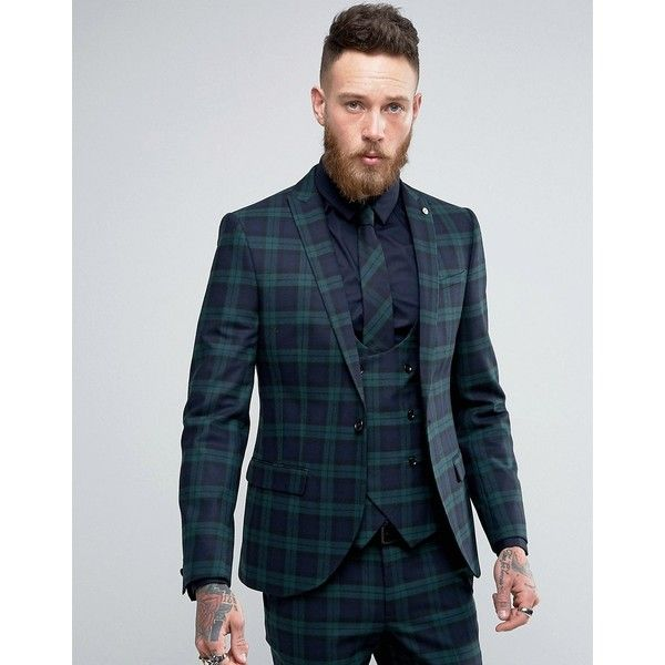 Noose & Monkey Super Skinny Suit Jacket In Check ($210) ❤ liked on Polyvore featuring men's fashion, men's clothing, green and tall mens clothing