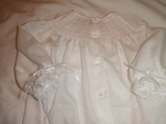 Ready to Smock Made to Order Pima Cotton Batiste Infant Bishop Daygown with French handsewn Long or Short Sleeves