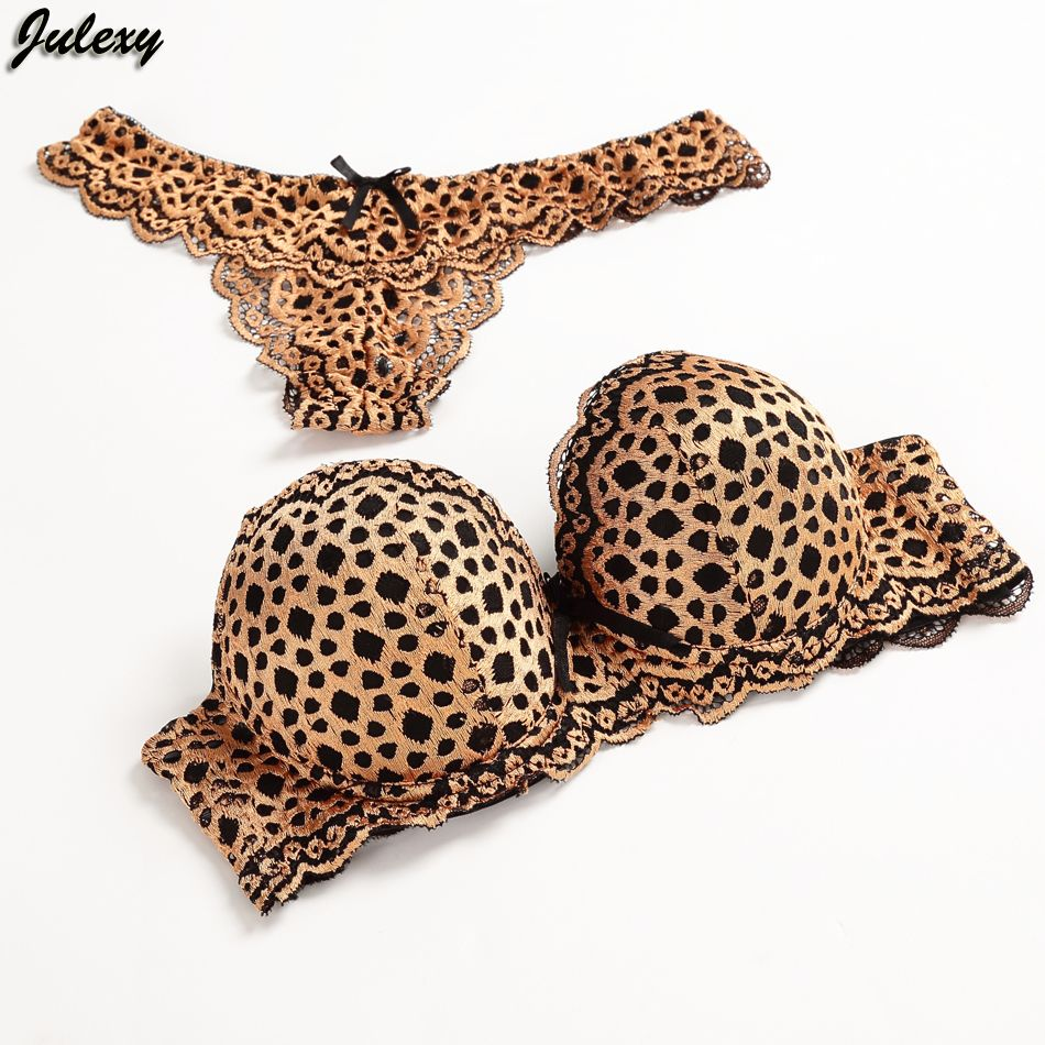 d1c124c800926 Julexy Gold Leopard Temptation Lace Thongs Women Bra Set Intimate Plus Size  ABC Push Up Bra Brief Sets Sexy Underwear Panty Set   Price   20.89   FREE  ...