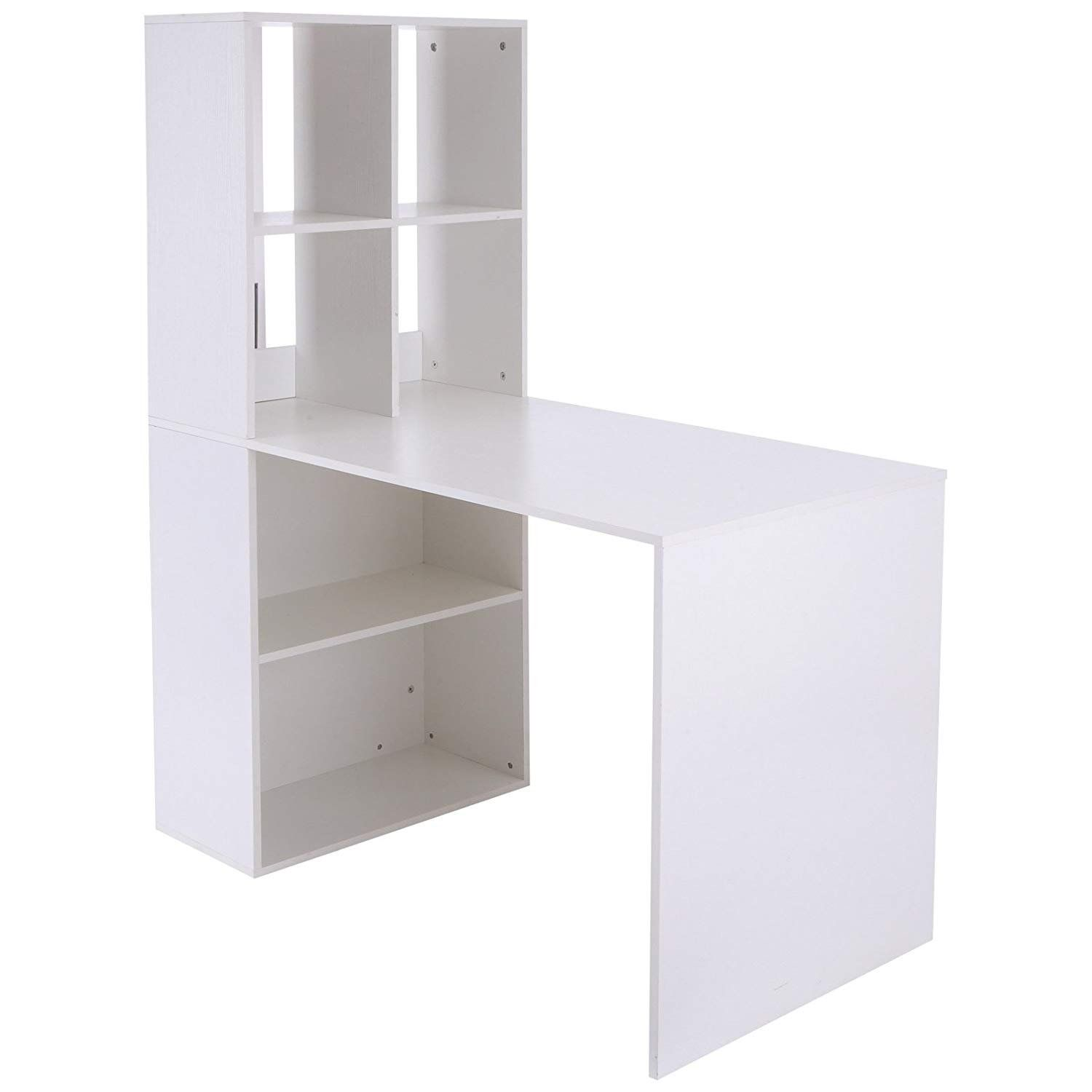 Vinsetto 57 Modern Space Saving Home Office Work Table Computer Desk And Bookcase Combo White Desk Bookshelf Combo White Desk With Bookcase Bookcase