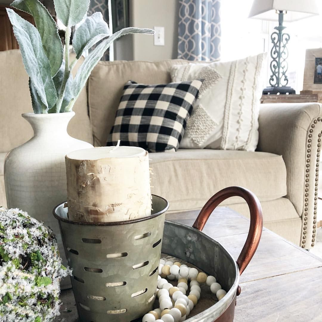 Styled coffee table tray with buffalo check pillows on couch. | Home ...