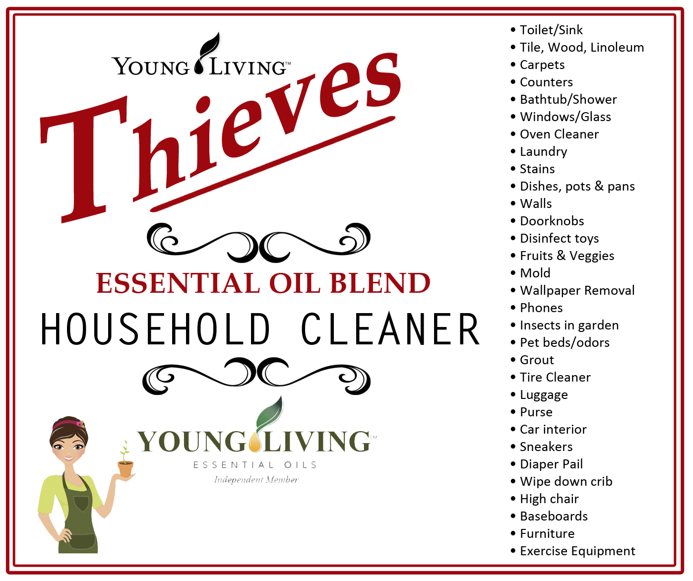 It's just a picture of Monster Young Living Thieves Cleaner Label
