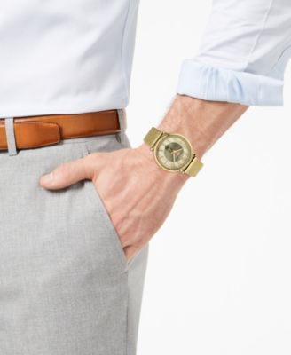 315593dbd2 Versace Men s Swiss V-Circle Manifesto Edition Gold-Tone Stainless Steel  Mesh Bracelet Watch 42mm - Ivory Cream