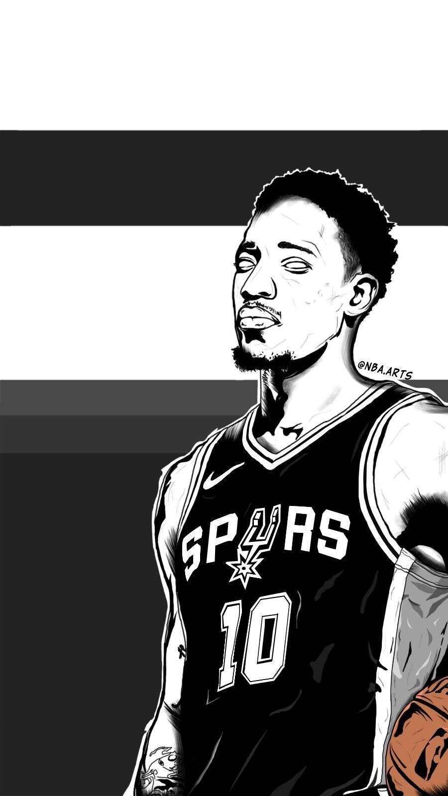 Demar Derozan Art San Antonio Spurs Rose Nba Thunder Nba