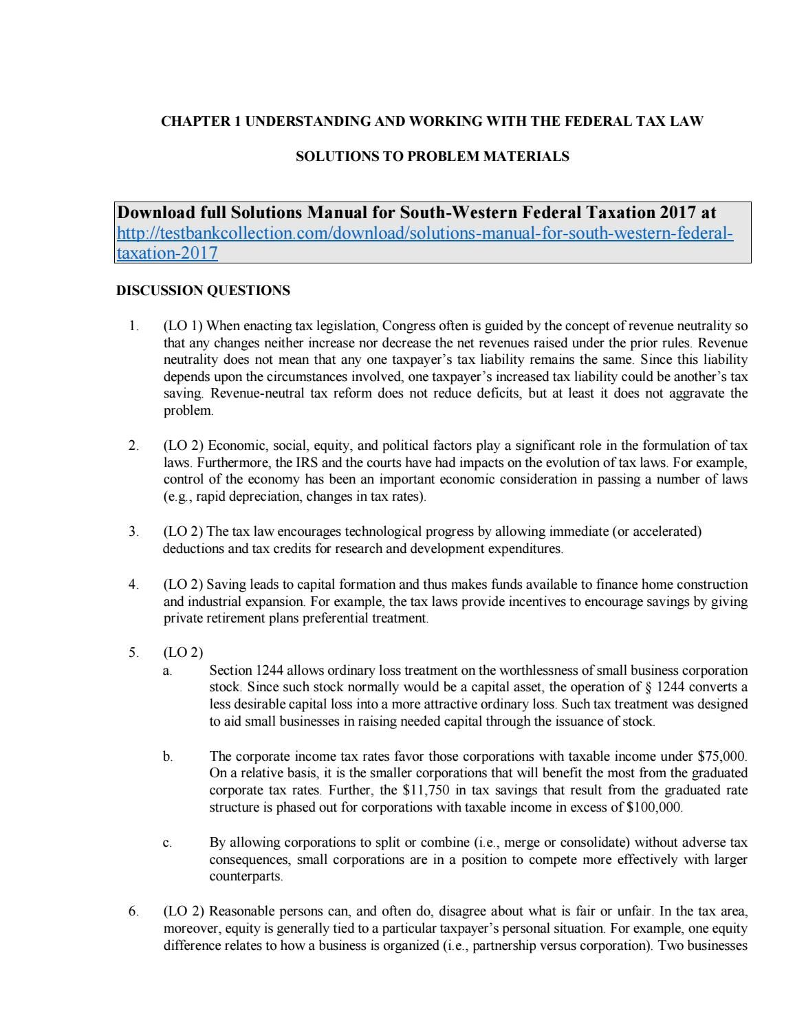 solutions manual for south western federal taxation 2017 pinterest rh pinterest com Tax Code Tax From Total