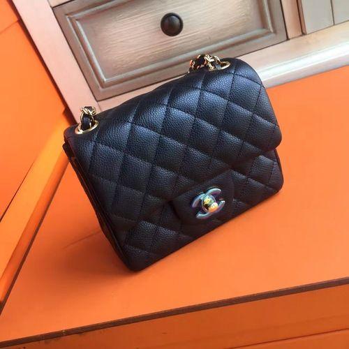3efa76237b6e CHANEL Black Calf leather Mini Square Classic Flap Chain Shoulder Bag with  Golden Hardware