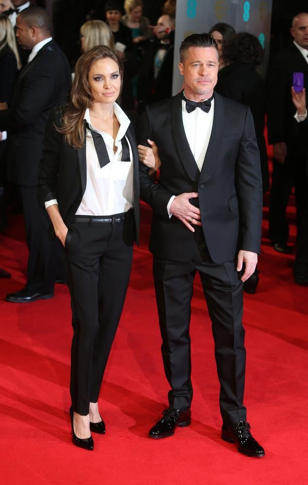 Her Royal Fierceness : Angelina Jolie wearing Saint Laurent suit at the BAFTAs.