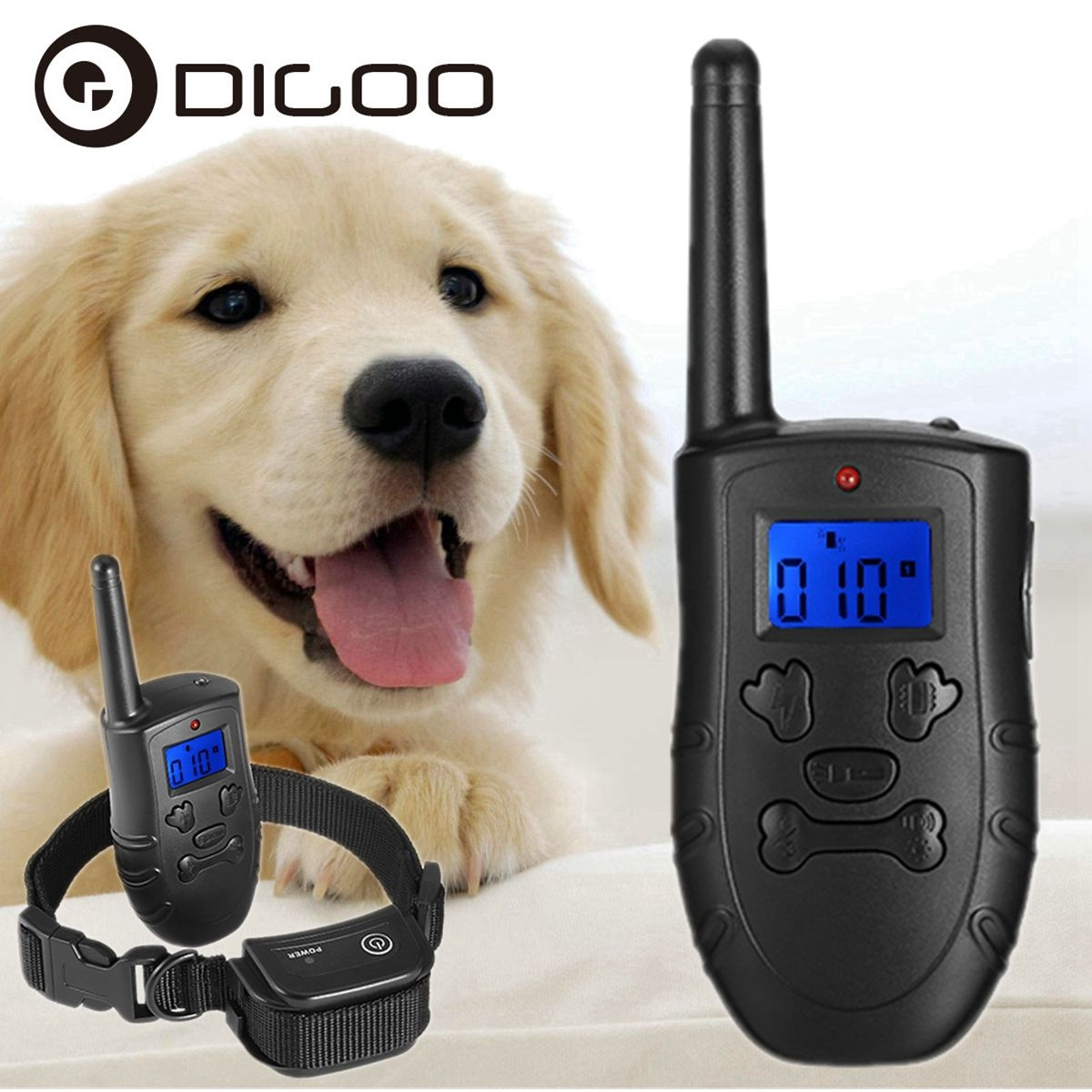 Digoo Dog Training Collar Rechargeable And Waterproof 330m Remote
