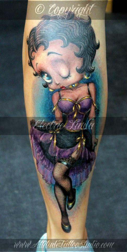 adult betty boop holding pistols tattoos