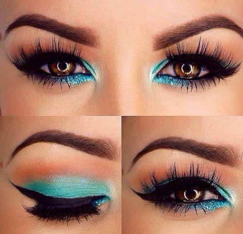 Maquillaje de noche para vestido aqua