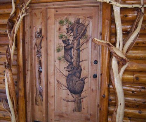 Exterior Door With Bear & Cubs Climbing