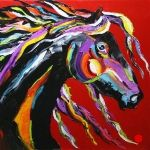 gold knights oil paintings | Justus Pace|'Black Knight' Modern Equine Horse Art Daily Oil Painting ...