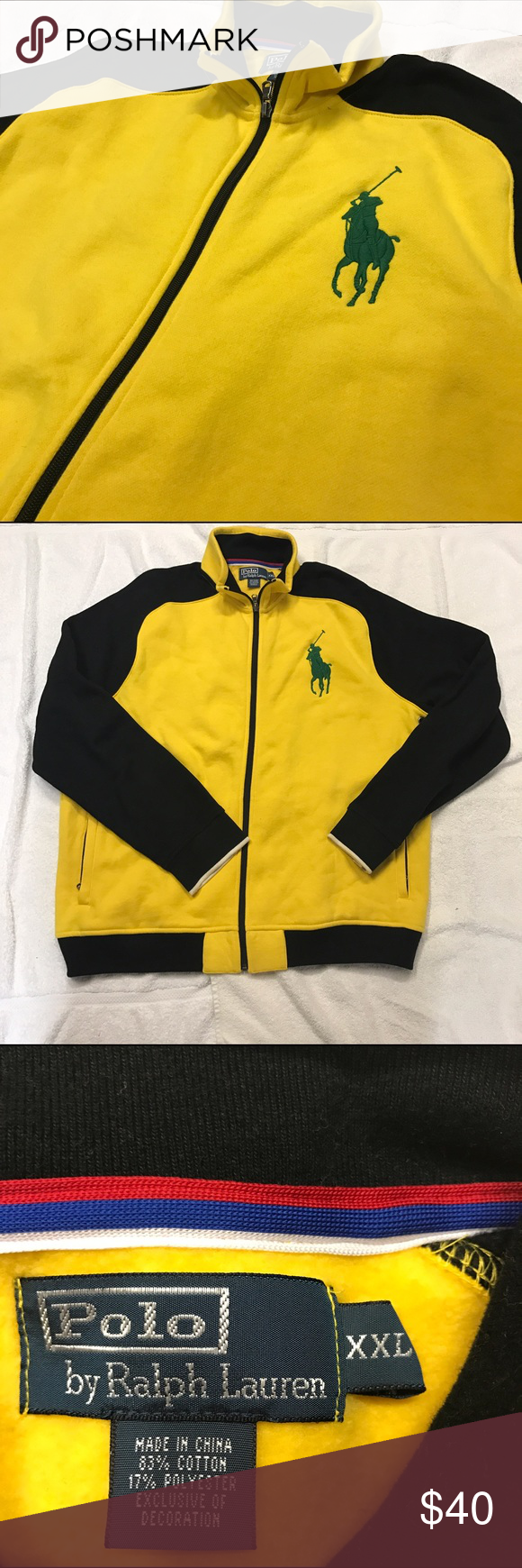 Ralph lauren polo fleece jacket pinterest polos yellow black